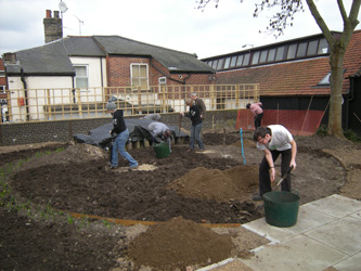 Weeding and spreading soil